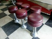 Art Deco Vintage Set 6 Chrome Red Ice Cream Parlor Diner Counter Mid 30and039s Stools