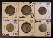 Lot Of Six Different Scarce Date Sweden 1 Krona Silver Coins 1875 To 1898 4948