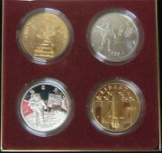 1988 America In Space 4-pc Silver And Brass Set - 2 Oz. Of .999 Silver Ap61
