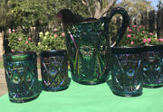 Imperial Diamond Lace Carnival Glass Pitcher And 4 Tumblers Great Color
