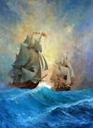 Oil Painting Duel Of Sailing Ships. Original Works. Pirate Ship. Battle. Paintin