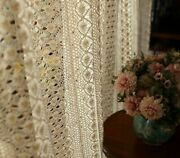 Window Finished Curtain Retro Beige Crochet Lace Hollow Tulle Living Room Drape