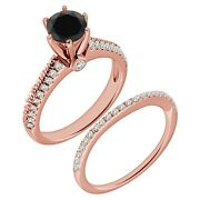 1.25 Carat Real Black Diamond Solitaire Filigree Anniversary Ring 14k Rose Gold