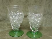 Vintage 1930's Mold Blown Grape Bunch And Leaves Tea Tumbler Pair Clear And Green