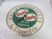 Vintage Advertising Lively Limes Cloverdale Round Thermometer Store M-451