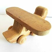 Vintage Carved Polished Wood Airplane Plane Toy 6x5.5x3 Tall Free Sh