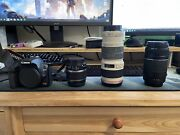 Canon Rebel Xs Dslr W/ 3 Lens, Extra Battery, And Carrying Case