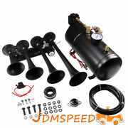 Train Horn Kit 4 Trumpets For Car/truck/pickup Loud System /1g Air Tank /150psi