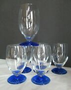6 Vtg Cobalt Blue Footed Base Water Wine Cocktail Glassware Rare Unusual Euc