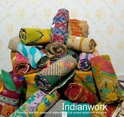 100 Pcs Indian Vintage Kantha Quilt Handmade Cotton Throw Reversible Bedspread