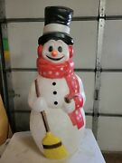Gs Vintage 42 Snowman Red Scarf/stars Lighted Blow Mold Yard Decor Christmas