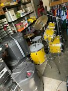 Rogers Vintage Drum Set With Road Cases Top Cymbals Hardware Spanish Gold