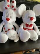 Disney Store 2013 Mickey Minnie Mouse Christmas White Red Doll Toy Japan D1