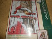Dimensions Cardinal On A Sled Cross Stitch Kit In Package 10x14
