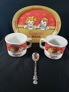 Vintage 1998 Campbell's 2 Soup Mugs, 1 Tin Tray, And 1 Sterling Silver Spoon