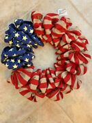 Patriotic Wreath / Memorial Day / July 4th - Wreath In Burlap / Stars And Stripes