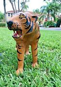 Vintage, Extra Large Leather Tiger Sculpture - Exotic Leather Tiger Cat Statue