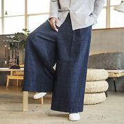 Casual Mens Pant Chinese Style Oversize Loose Wide Legs Flax Linen Long Trousers