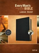 Every Manand039s Bible Niv Large Print Genuine Leather Black Indexed New