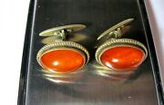 Old Collectible Cufflinks Silver 875 With Baltic Amber Ussr Antique