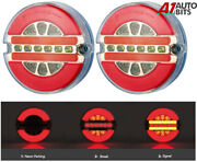 Rear Tail Lights Set Round Led Neon Anello Stop Indicator Truck Lorry Trailer E9