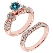 1.75 Carat Real Blue Diamond Filigree Cluster Promise Ring Band 14k Rose Gold