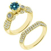 1.5 Carat Real Blue Diamond Filigree Cluster Promise Ring Band 14k Yellow Gold