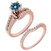 1.25 Carat Real Blue Diamond By Pass Wedding Bridal Ring Band 14k Rose Gold