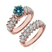 1.25 Carat Real Blue Diamond Cluster Solitaire Wedding Ring Band 14k Rose Gold