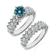 1.75 Carat Real Blue Diamond Cluster Solitaire Wedding Ring Band 14k White Gold