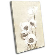 Poppies Sketch Vintage Natural Floral Single Canvas Wall Art Picture Print