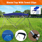 Bimini Top 79-84 Free Clips 4 Bow Boat Canopy Cover 8 Ft Support Poles Pb4n1