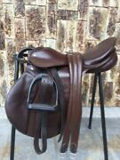 Used Passhe Comprehensive Saddle 16.5 Inches With Girth Stirrups Horse Riding