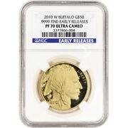 2010-w American Gold Buffalo Proof 1 Oz 50 - Ngc Pf70 Early Releases