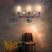 Vintage Steampunk Wall Sconce Light Water Pipe Farmhouse Rustic Hallway Fixture