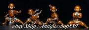 China Boxwood Carving Kung Fu Boy Four Monk Little Monk State Sculpture Set