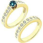1.25 Carat Real Blue Diamond Channel Promise Wedding Ring Band 14k Yellow Gold