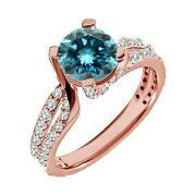 1.75 Carat Real Blue Diamond Split Shank By Pass Solitaire Ring 14k Rose Gold