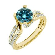 1.75 Carat Real Blue Diamond Split Shank By Pass Solitaire Ring 14k Yellow Gold