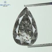 3.65 Ct Pear Shape Natural Loose Diamond Salt And Pepper Color I3 Clarity N6-48