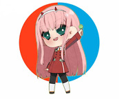 2 Pcs Vinyl Stickers Set For Car And Other Surfaces Zero Two Cute Anime Art