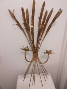 Vintage / Antique Wheat Candelabra Wall Sconce -metal -great Condition-1 Pair