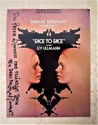 Ingmar Bergman Hand Signed And Inscribed In Swedish On Face To Face Film Promo