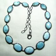 Caribbean Larimar And Pave Diamond Jewelry 925 Sterling Silver Necklace 18 Ss76