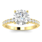 1.18ct D-si1 Diamond Round Engagement Ring 18k Yellow Gold Any Size