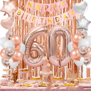 60th Birthday Decorations For Women Rose Gold 60th Birthday Balloons Party