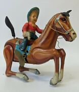 Vintage 1950and039s Daiya Japan Tin Litho And Celluloid Bucking Bronco Horse And Rider