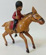 Vintage 1940and039s Japan Celluloid Wind-up Toy Horse W/ British Guard Carrying Sword
