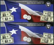 Set Of 2 - Us Mint/bep Texas Coin And Currency Set Sequentially Numbered Ap 82