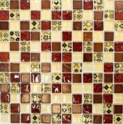 Mosaic Tiles Translucent Beige Red Glass Mosaic Crystal Resin Look